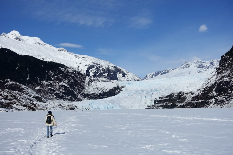 walking across frozen mendenhall lake to the glacier