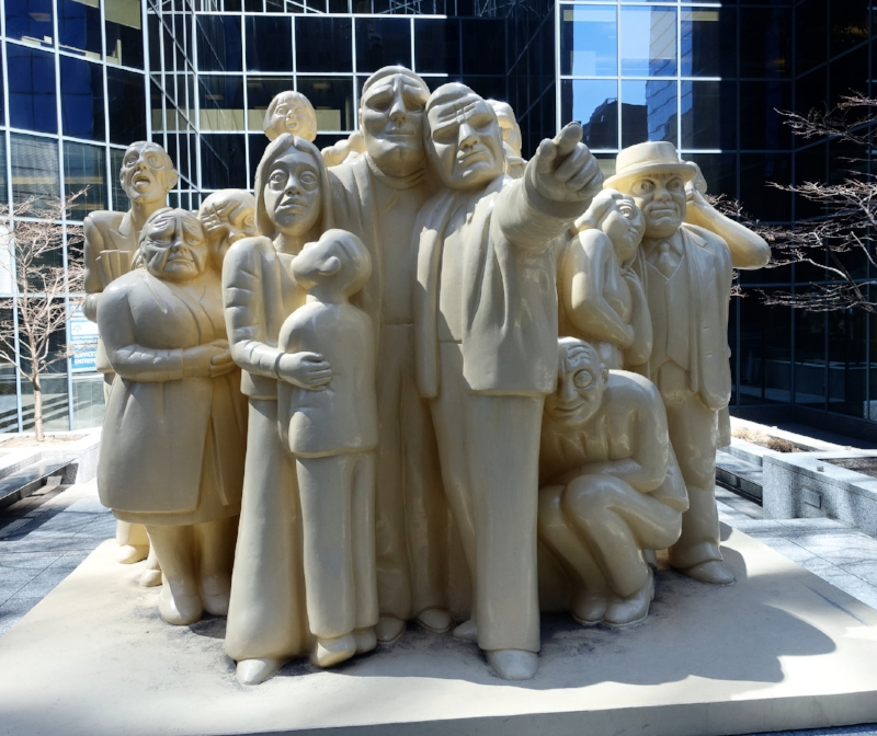 street sculpture - the illuminated crowd by ramon mason