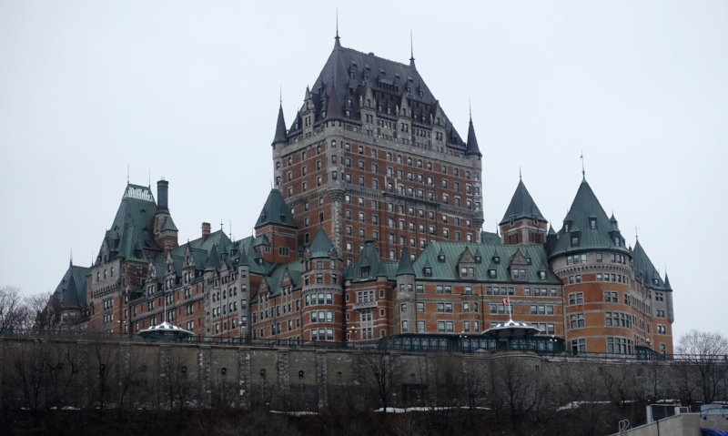 the skyline of old quebec city is dominated by the chateau frontenac hotel