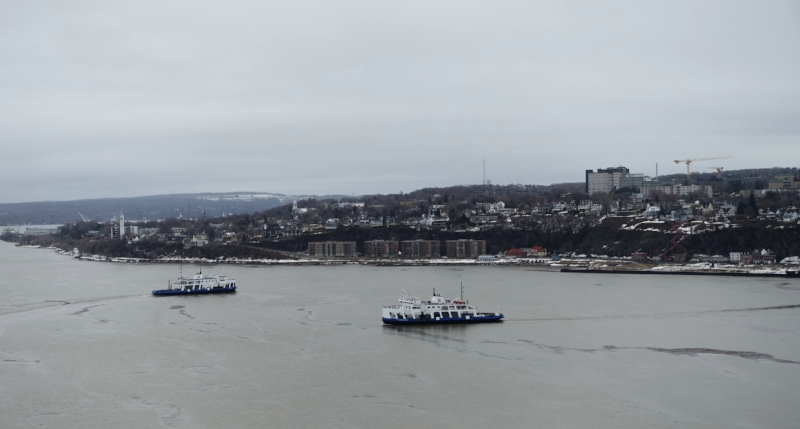 ferries cross the st lawrence river betwen levis and quebec city every half hour