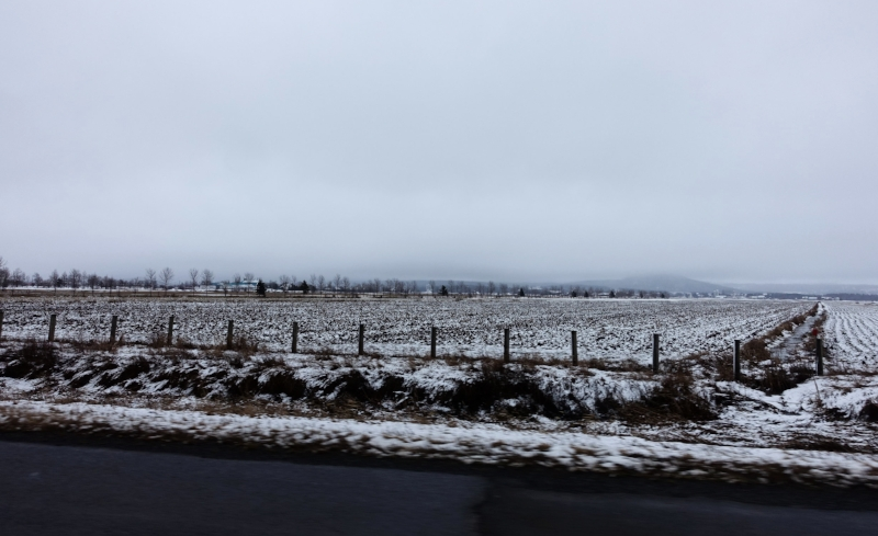 the quebec countryside was still pretty wintery