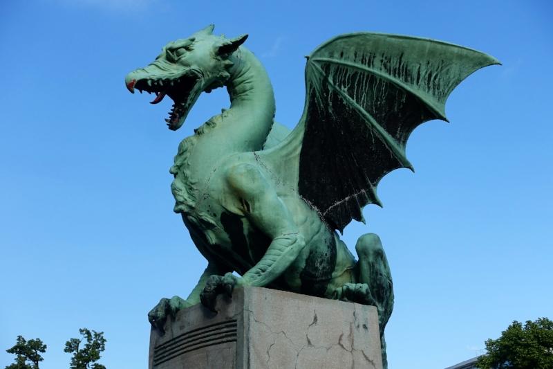 the dragon bridge of Ljubljana - a well known symbol of the city