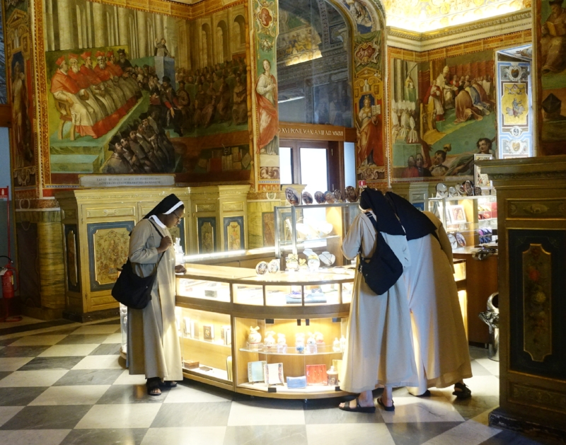 Doing a spot of shopping at the vatican giftshop