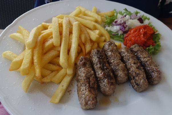 cevapi, ayvar (the orange stuff) and chips