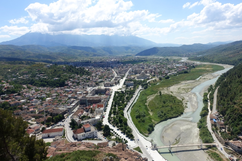 view of berat from the castle