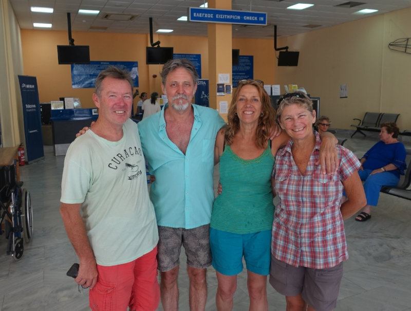 sadly, time to leave for our flight to athens - ken, ron, ellen and cally