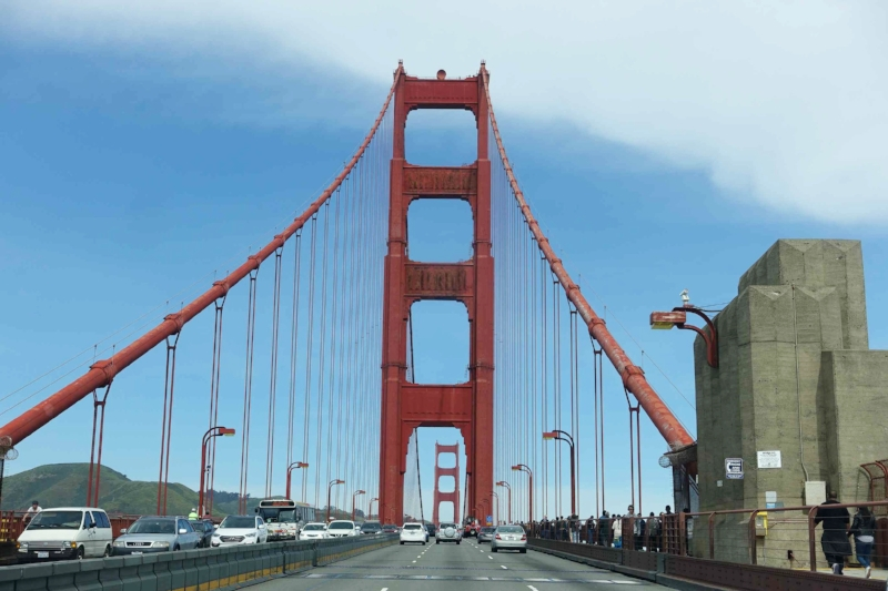 crossing the golden gate bridge, san francisco