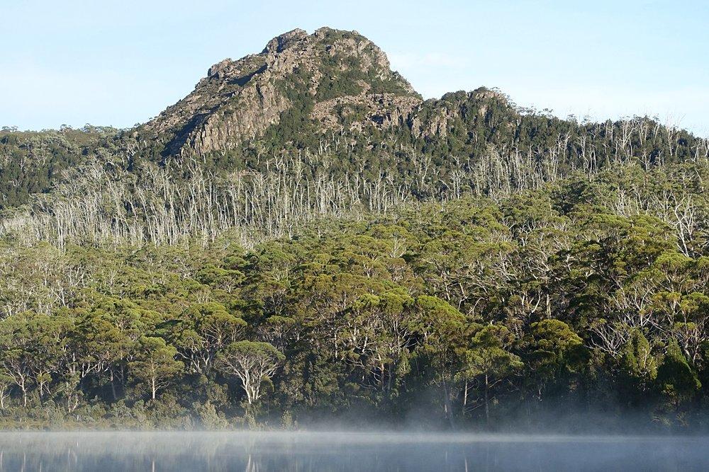morning mist over the lake and little hugel