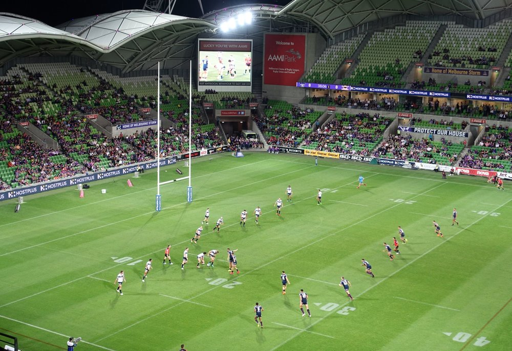 rugby league match - North Queensland cowboys (in white) versus Melbourne storm