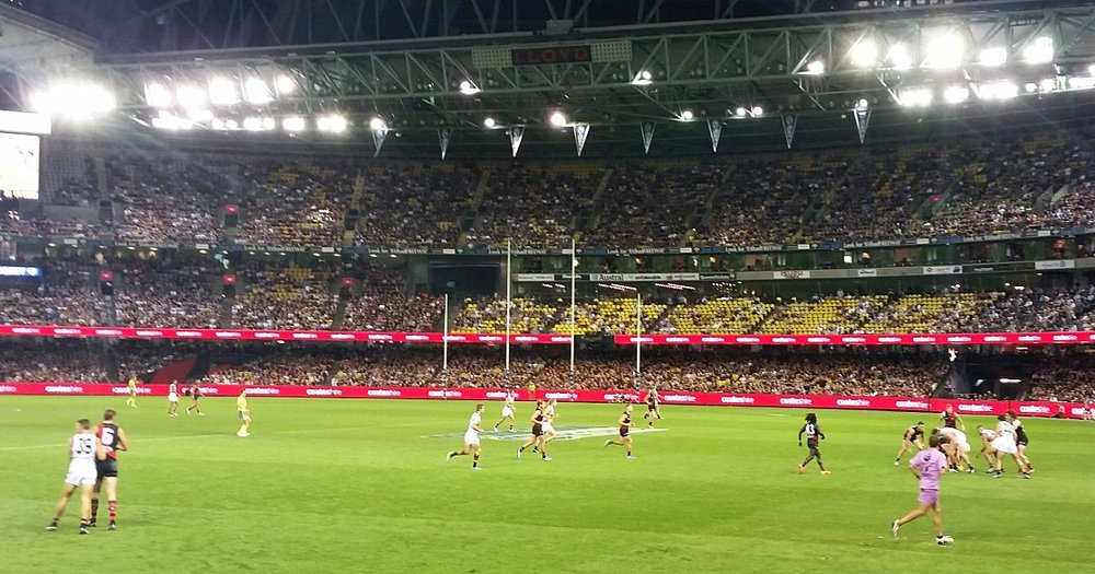 the bombers (black and red) in action against the Adelaide crows