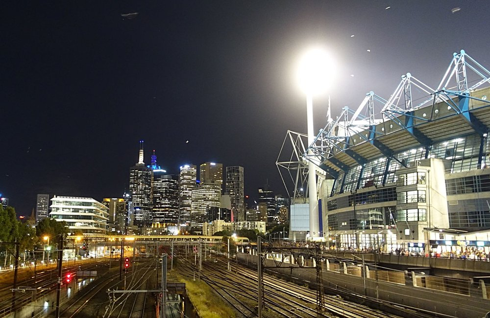 Melbourne night skyline with the g on the right