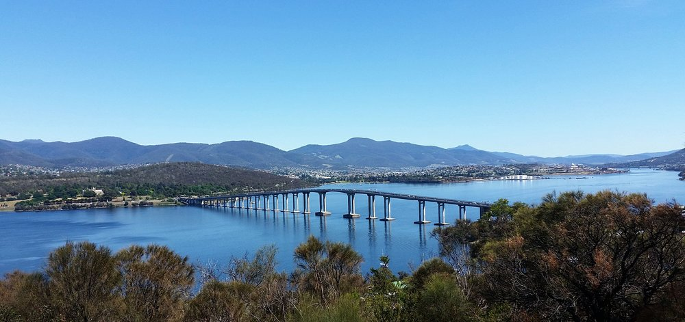 tasman bridge and Derwent river as viewed from the eastern shore