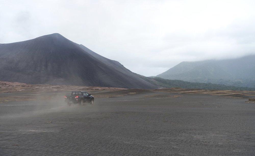 driving across the ash plain