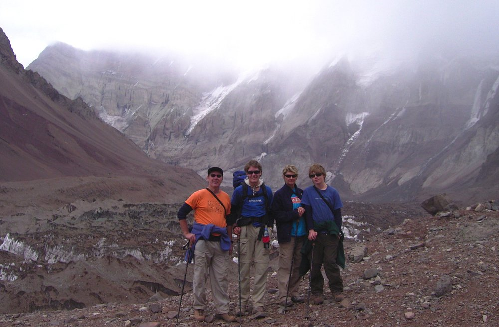 trekking on Aconcagua, Argentinian andes, with alex and zac, 2008