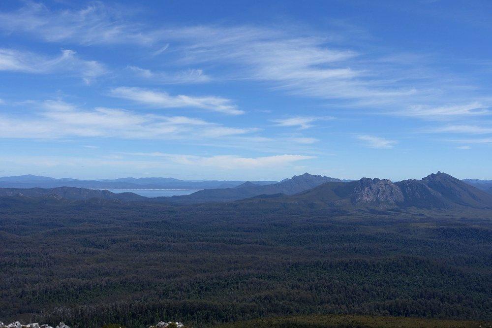 Views of lake Gordon and the saw back range