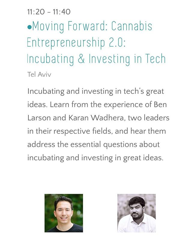 Gateway co-founder @pitchtoben teams-up with @casaverdecap's @kwadhera on stage today at @cannatechglobal in #TelAviv to talk #cannabis #entrepreneurship, #incubating and #investing. If you're there, don't miss it! #cannabiz #israel #ican #cannatech #cannatech2018