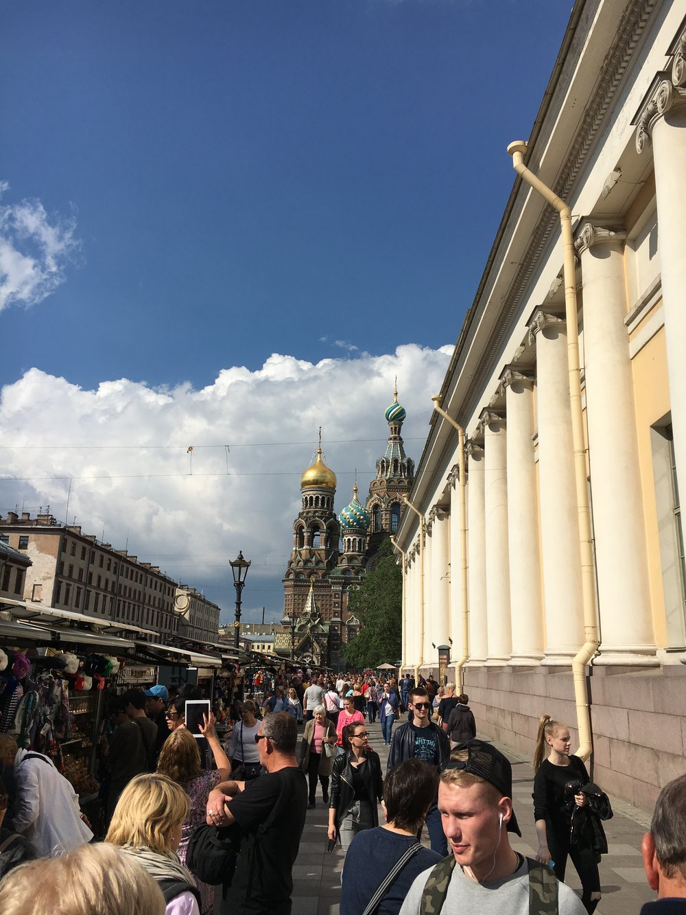 Approaching The Church of the Savior on Spilled Blood, in St. Petersburg.