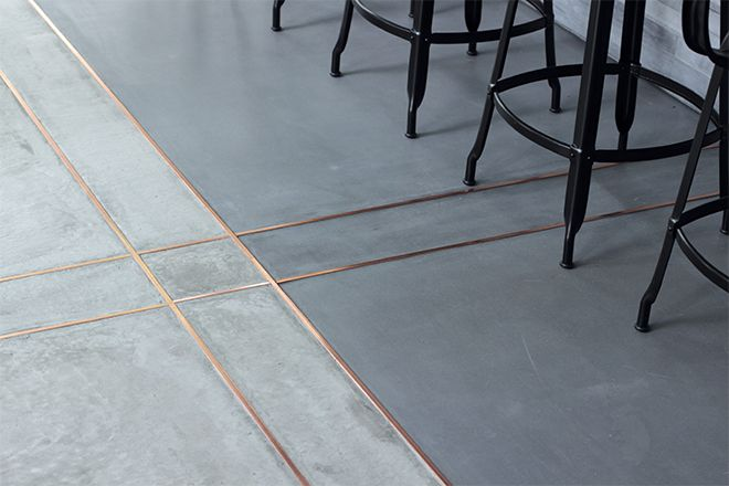 Grout doesn't have to be white! Make floors shine by adding some bling in between tiles.