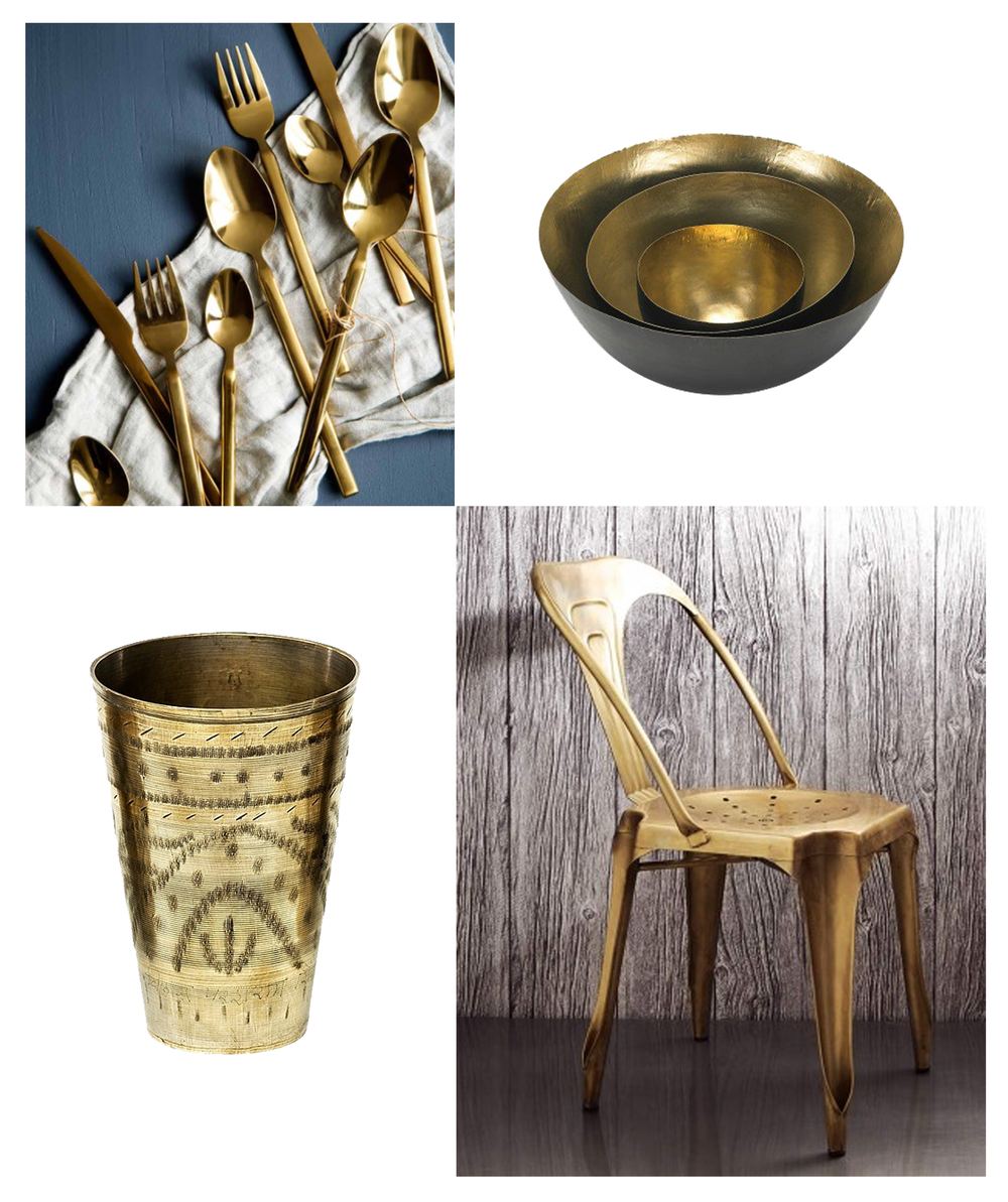 Clockwise from top left:  Cutlery, Broste Copenhagen   Black and brass bowls, Tom Dixon   'Isaac' chair, Graham & Green   Antique Lassi cup, Plümo