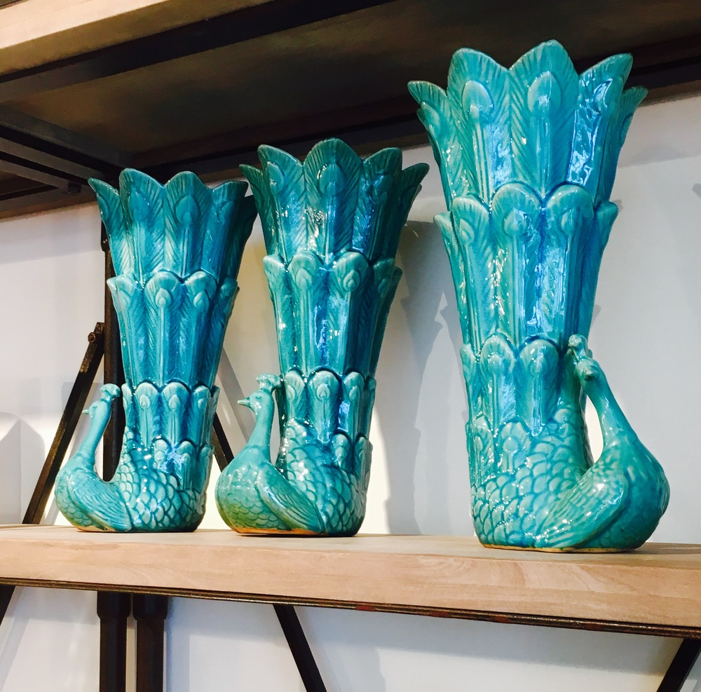 Peacock fluted vase, £48 each