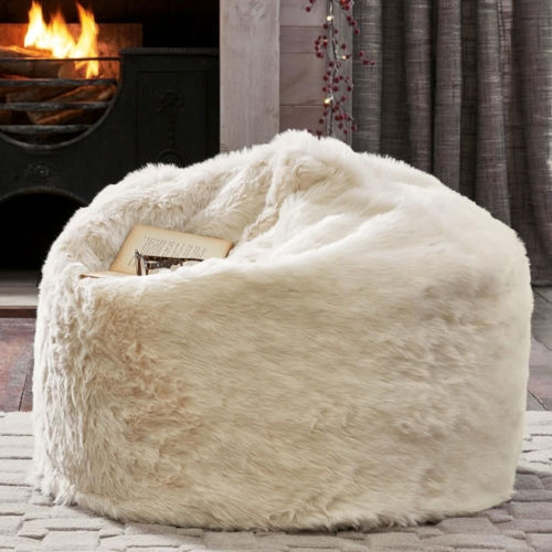 Textured cream faux fur beanbag, £65 -  Next