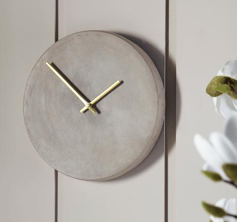 Concrete and brass clock, £55 -  Cox & Cox