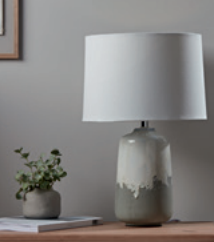 Drip glazed table lamp, £90.
