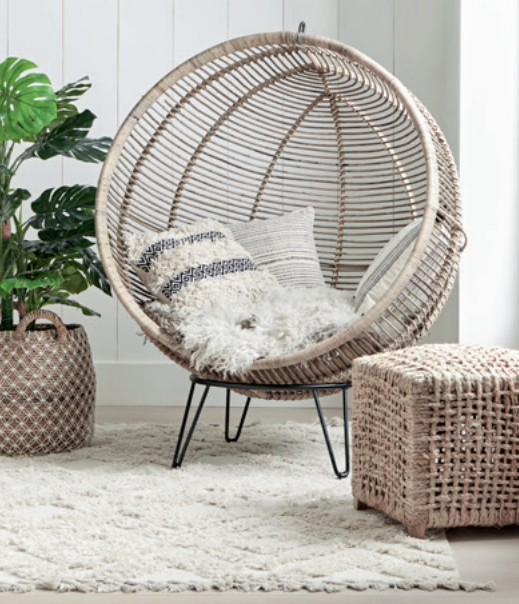Round rattan ball chair, £650.