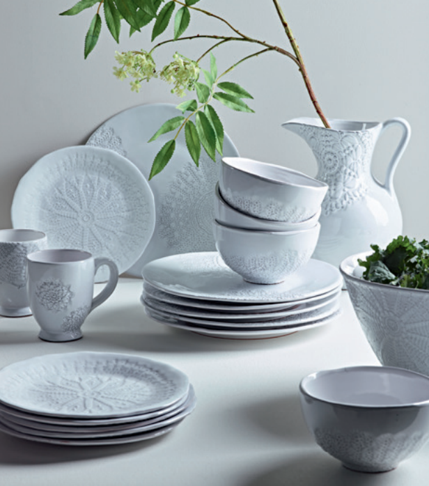 Embossed Lace dinnerware, from £35.