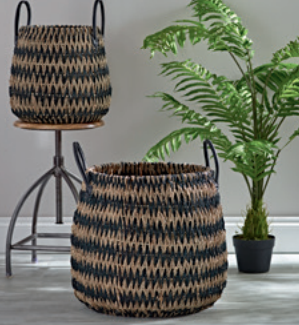 Pair of monochrome seagrass baskets, £145.