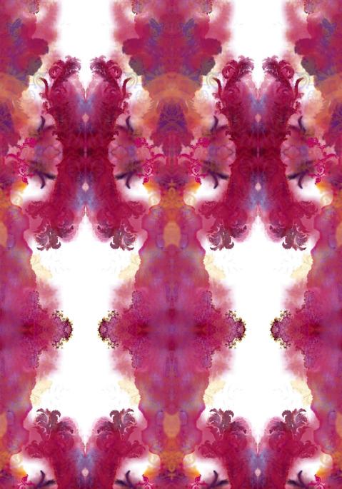 Chic Blotch wallpaper, raspberry on pearl colourway