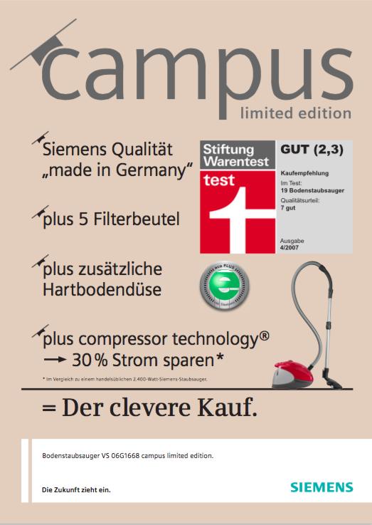 Siemens Sales-Folder 3 - Staubsauger