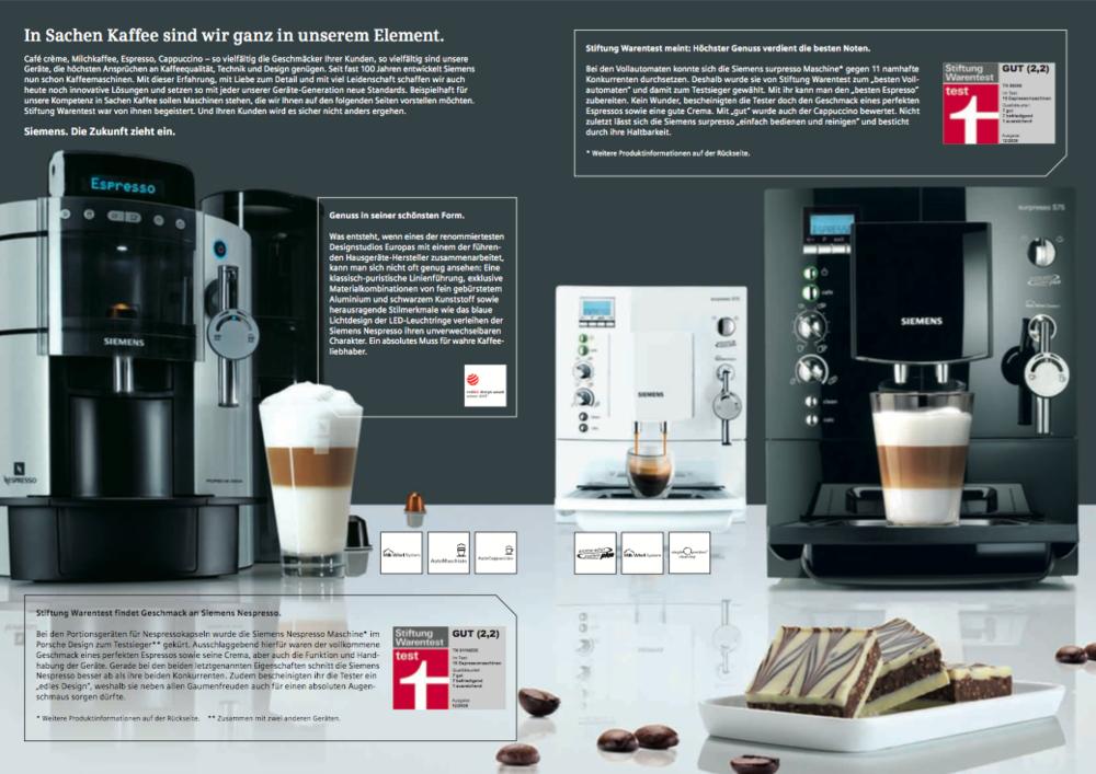 Siemens Sales-Folder 2 - Kaffee-Vollautomat