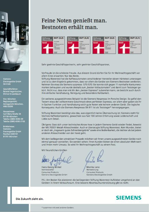 Siemens Mailing 1 - Kaffee-Vollautomat