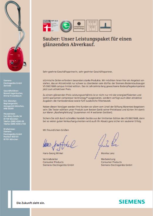Siemens Mailing 2 - Staubsauger