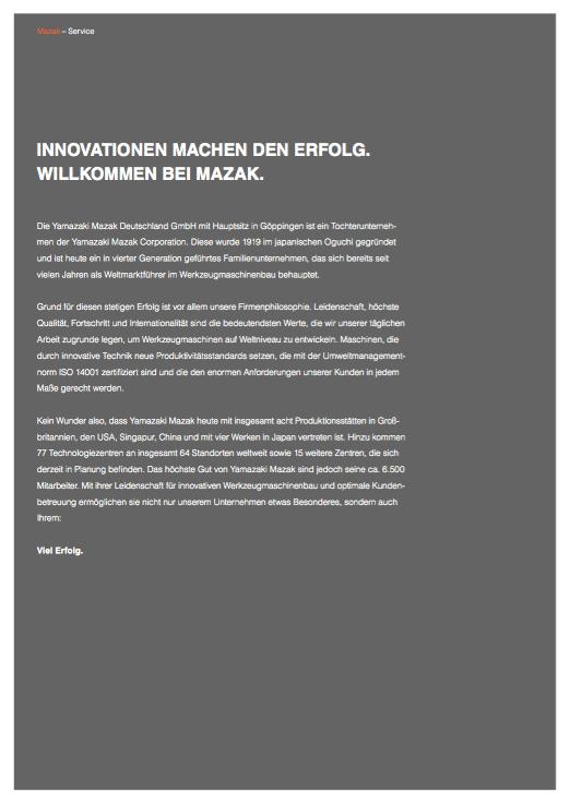 Mazak Werkzeugmaschinen - Broschüre Seite 2