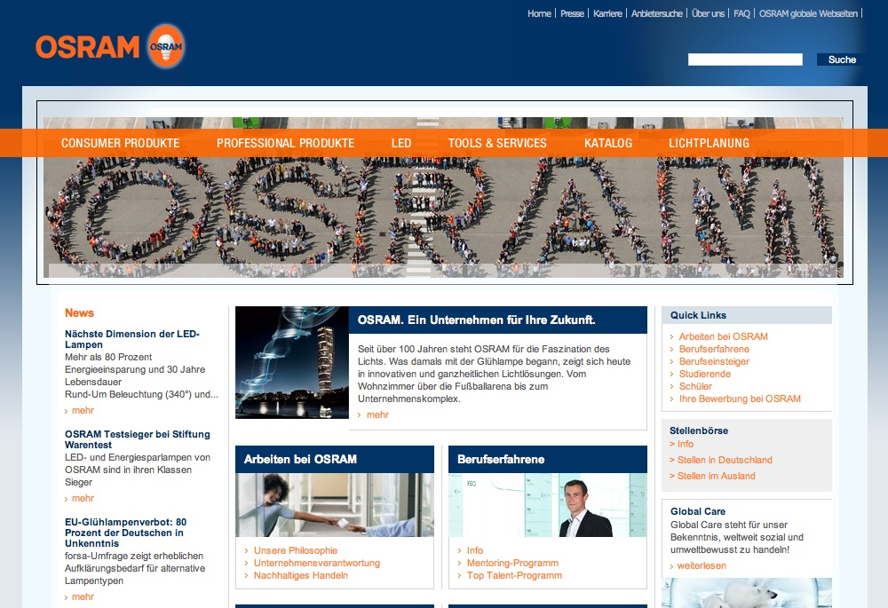 Website Osram - Karriereseiten 1