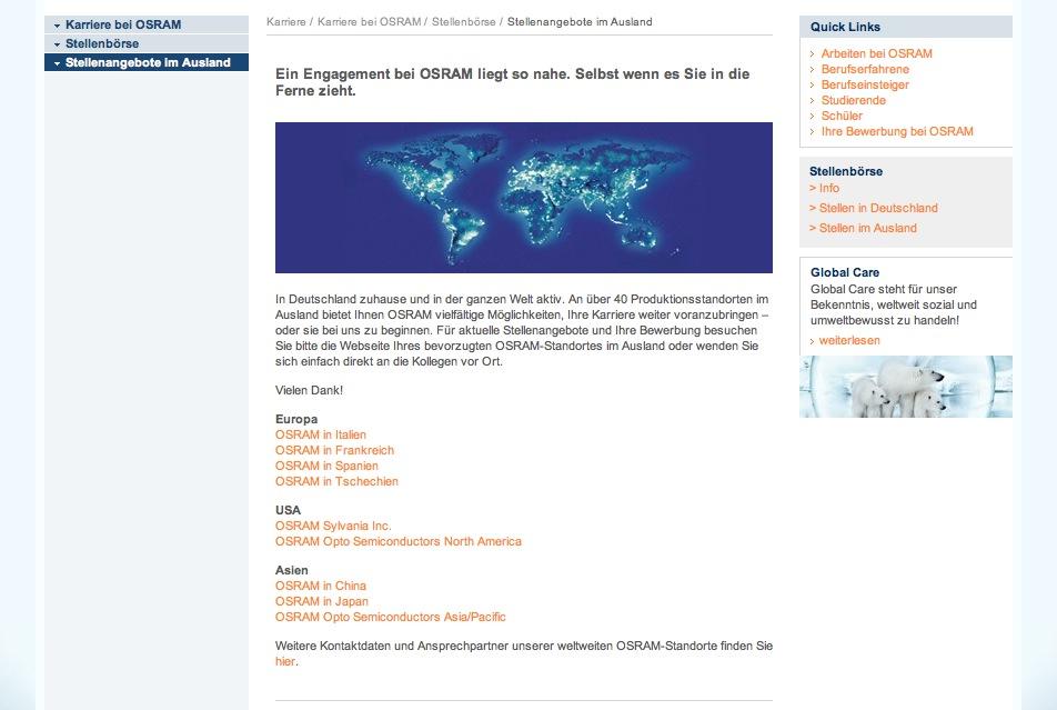Website Osram - Karriereseiten 2