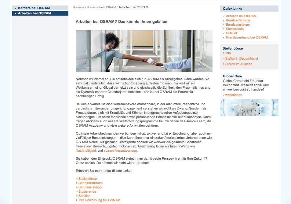 Website Osram - Karriereseiten 3