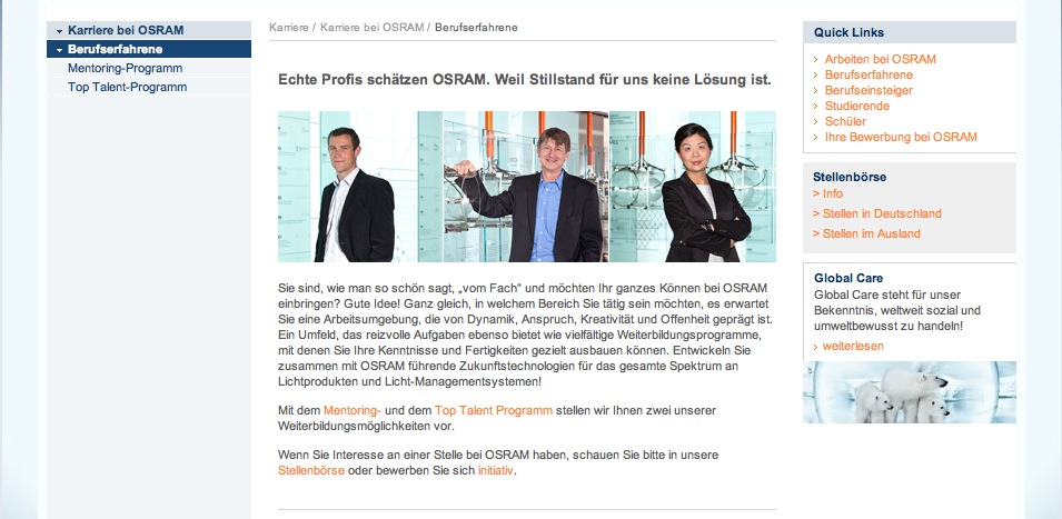 Website Osram - Karriereseiten 4