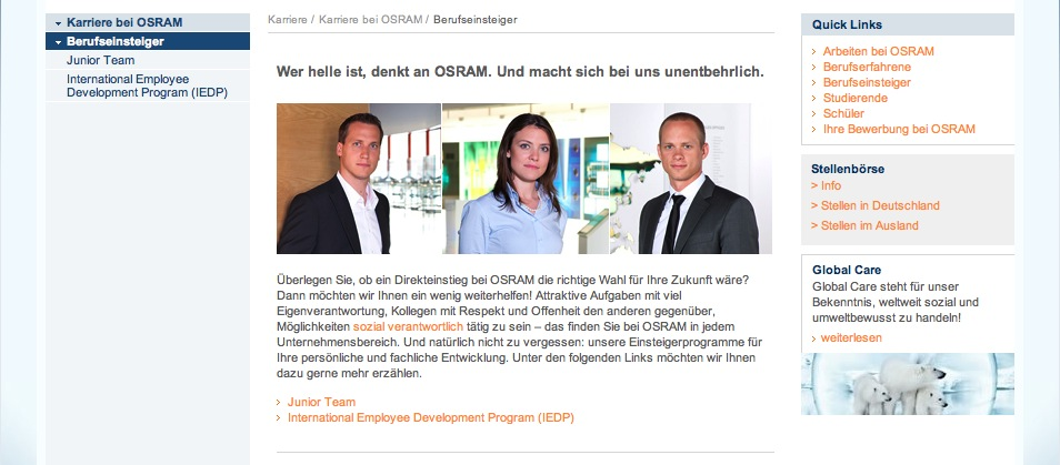 Website Osram - Karriereseiten 7