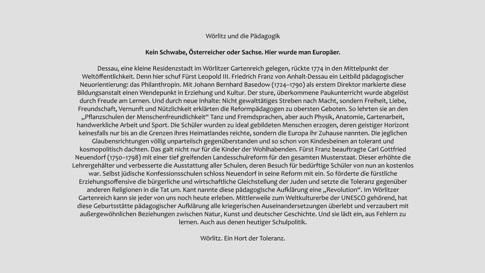 Anzeige Wörlitz und die Pädagogik
