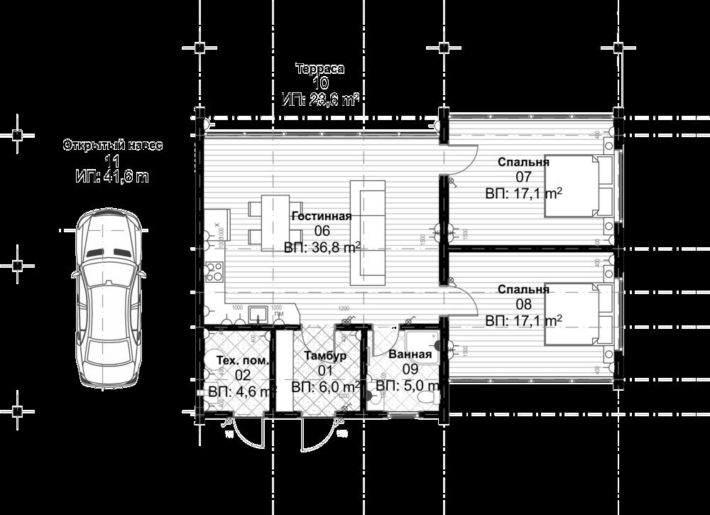 Норвик - Площадь первого этажа: 86,6 кв.м.Площадь террасы: 23,6 кв.мПлощадь навеса: 41,6 кв.м.Общая площадь дома: 110,2 кв.м