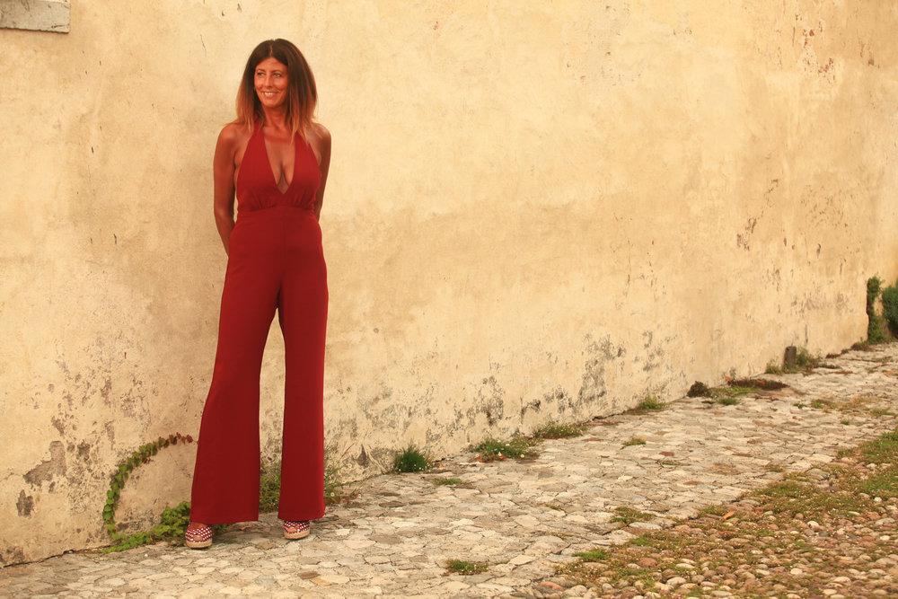 Red Farrah Jumpsuit by Annaborgia