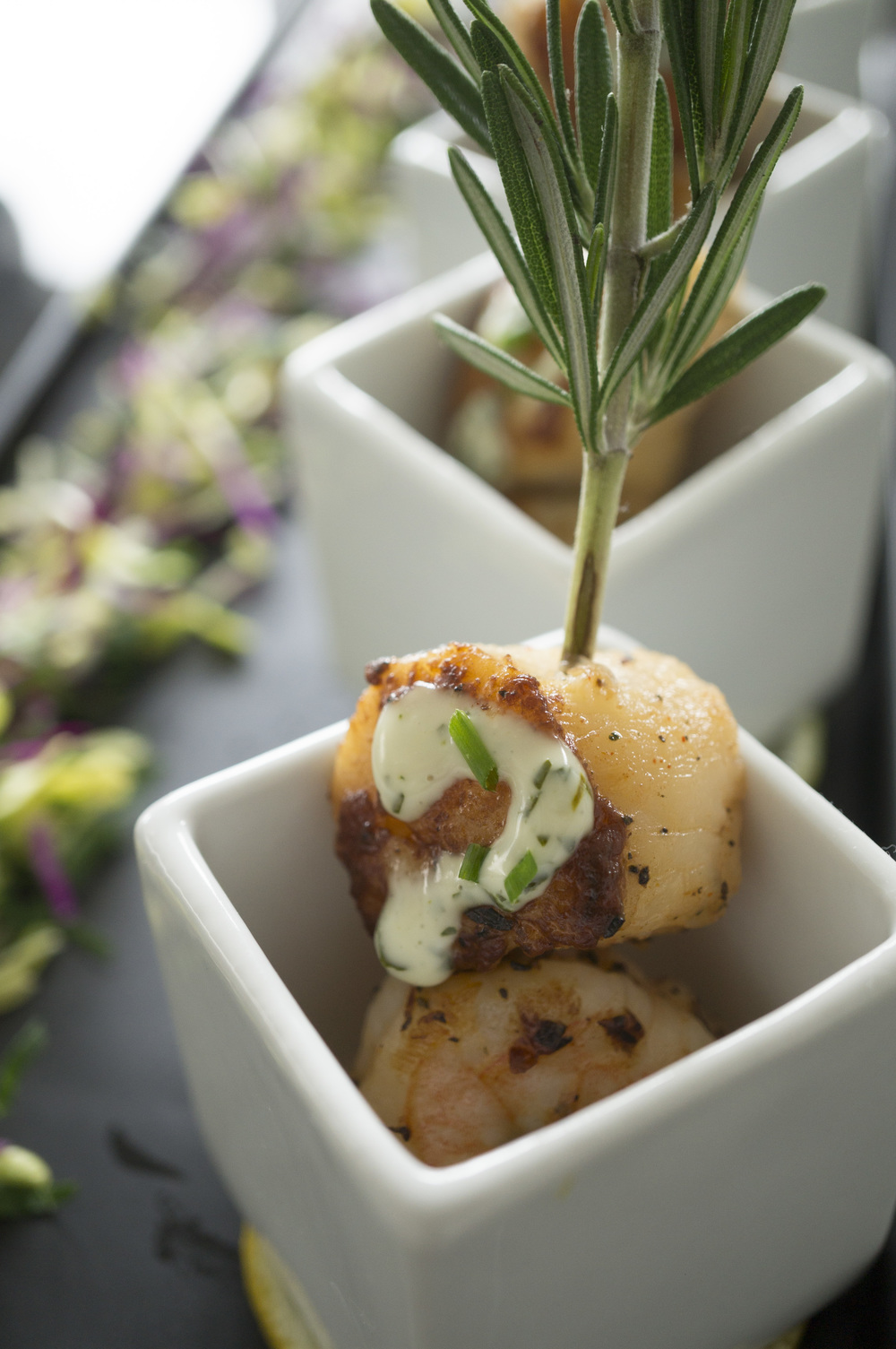 Seared Diver Scallop and Jumbo Shrimp on a Rosemary Sprig with Cilantro Aioli 9648.jpg