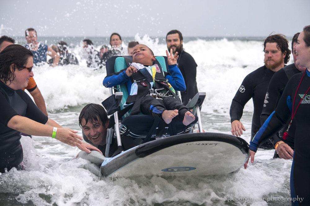 special surfers, gooches beach, kennebunk, august 2017