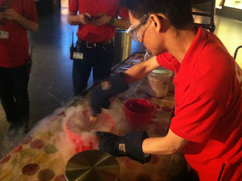 David's colleague Chi, making ice cream with the liquid nitrogen at the Science Museum's #AstroNights event