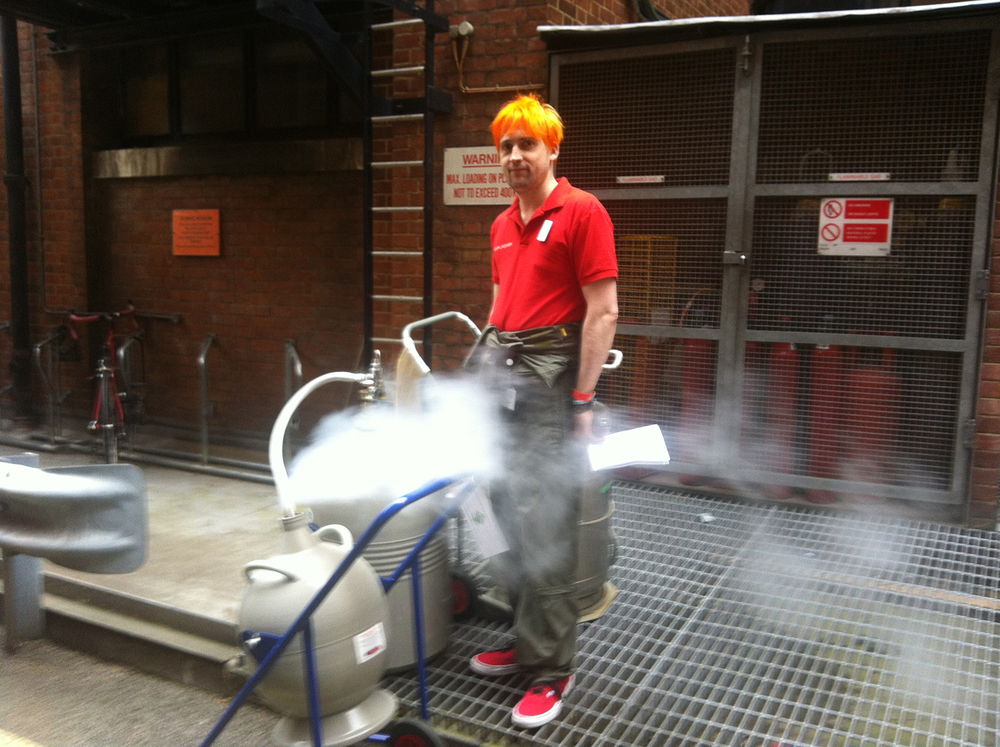David Houston collecting liquid nitrogen