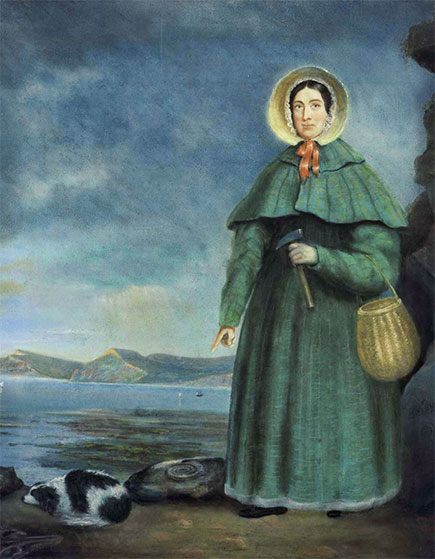 Painting of Mary Anning, fossil hunting at Lyme Regis