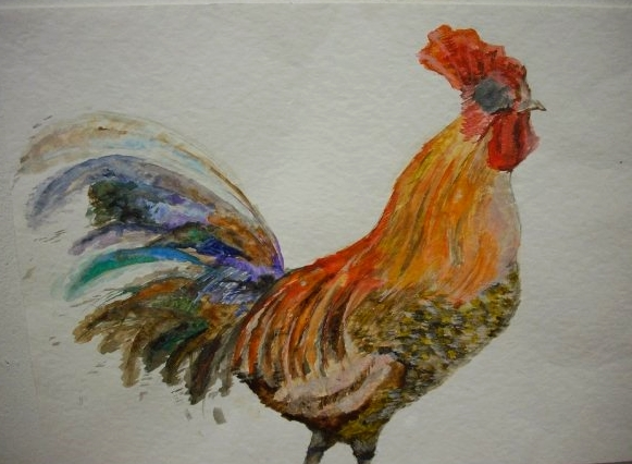 Cock by 2, Watercolour on Watercolour Paper, 2009